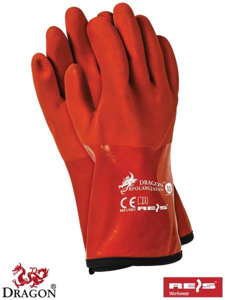 Rękawice ochronne termoodporne wykonane z PCV w kolorze pomarańczowym.